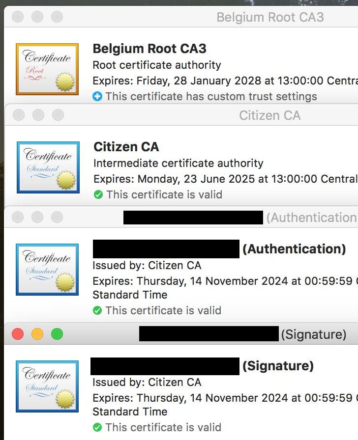 Belgium Root CA3, Citizen CA, and two citizen certificates